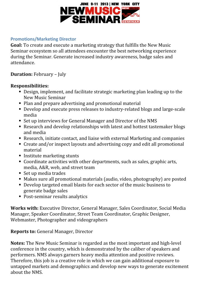 Microsoft Word - NMS Promotions Manager Job Description 2013.doc