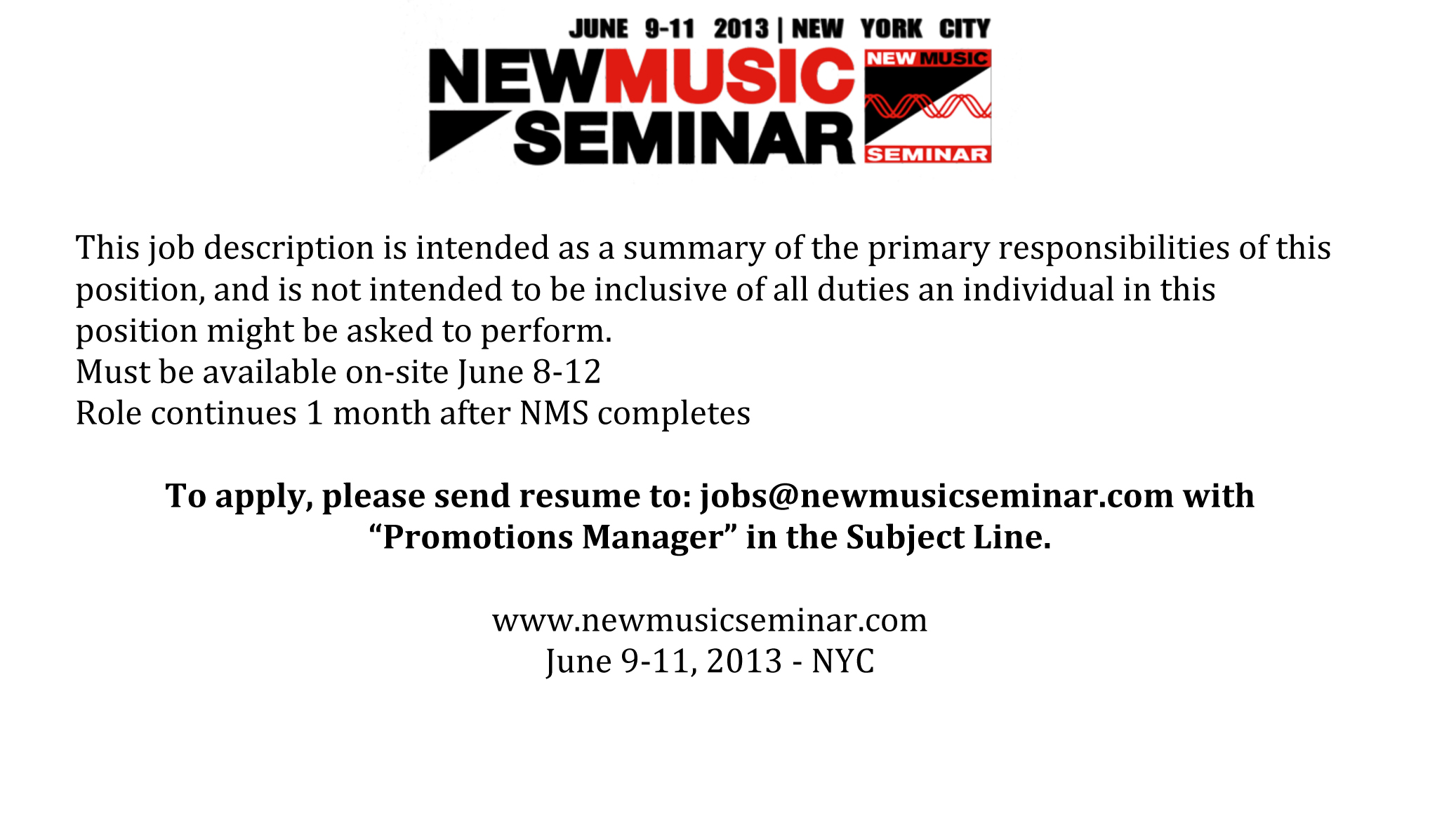 The New Music Seminar Is Hiring The Music Business Network