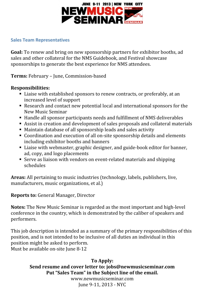 Microsoft Word - NMS Sales Team Job Description 2013.docx
